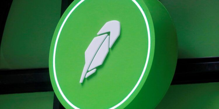 The logo of Robinhood Markets, Inc. is seen at a pop-up event on Wall Street after the company