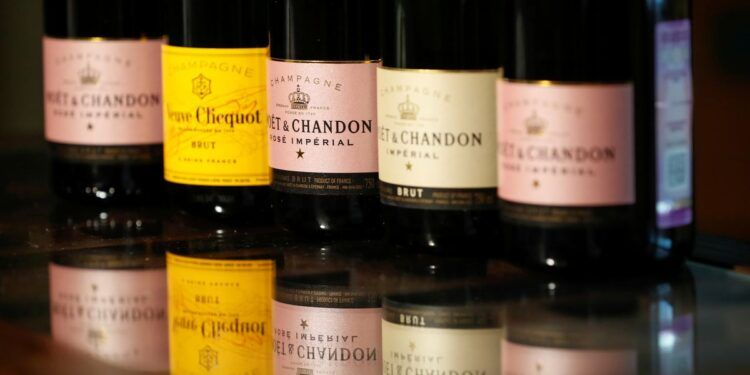 Bottles of Moet & Chandon and Veuve Clicquot French champagne are seen in this illustration picture taken July 5, 2021. REUTERS/Shamil Zhumatov/Illustration/File Photo